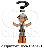 Orange Explorer Ranger Man With Question Mark Above Head Confused