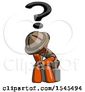 Orange Explorer Ranger Man Thinker Question Mark Concept