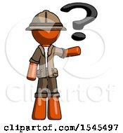 Orange Explorer Ranger Man Holding Question Mark To Right