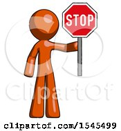 Orange Design Mascot Man Holding Stop Sign