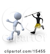 Zulu Native Running With A Spear And Trying To Kill A White Person Clipart Illustration Image