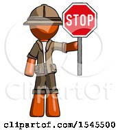 Orange Explorer Ranger Man Holding Stop Sign