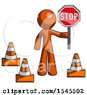 Orange Design Mascot Man Holding Stop Sign By Traffic Cones Under Construction Concept