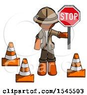 Orange Explorer Ranger Man Holding Stop Sign By Traffic Cones Under Construction Concept