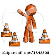 Orange Design Mascot Man Standing By Traffic Cones Waving