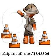 Orange Explorer Ranger Man Standing By Traffic Cones Waving