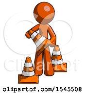 Orange Design Mascot Man Holding A Traffic Cone