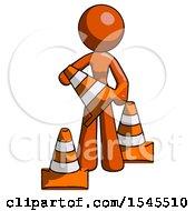 Orange Design Mascot Woman Holding A Traffic Cone