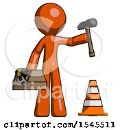 Orange Design Mascot Man Under Construction Concept Traffic Cone And Tools