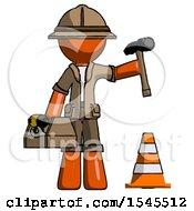 Orange Explorer Ranger Man Under Construction Concept Traffic Cone And Tools