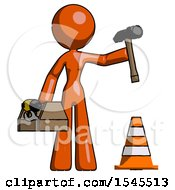 Orange Design Mascot Woman Under Construction Concept Traffic Cone And Tools