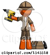 Orange Explorer Ranger Man Holding Drill Ready To Work Toolchest And Tools To Right