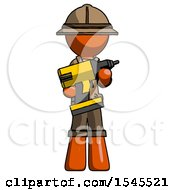 Orange Explorer Ranger Man Holding Large Drill