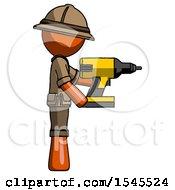 Orange Explorer Ranger Man Using Drill Drilling Something On Right Side