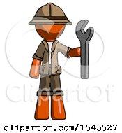 Orange Explorer Ranger Man Holding Wrench Ready To Repair Or Work
