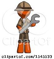 Orange Explorer Ranger Man Holding Large Wrench With Both Hands