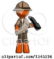 Orange Explorer Ranger Man Holding Hammer Ready To Work