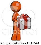 Orange Design Mascot Man Giving A Present