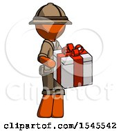 Orange Explorer Ranger Man Giving A Present