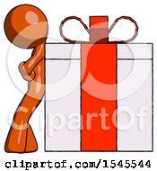 Orange Design Mascot Man Gift Concept Leaning Against Large Present