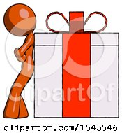 Orange Design Mascot Woman Gift Concept Leaning Against Large Present