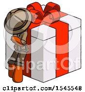 Orange Explorer Ranger Man Leaning On Gift With Red Bow Angle View
