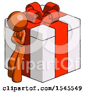 Orange Design Mascot Woman Leaning On Gift With Red Bow Angle View