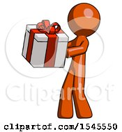 Orange Design Mascot Man Presenting A Present With Large Red Bow On It