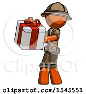 Orange Explorer Ranger Man Presenting A Present With Large Red Bow On It