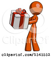 Orange Design Mascot Woman Presenting A Present With Large Red Bow On It