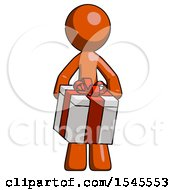 Orange Design Mascot Man Gifting Present With Large Bow Front View