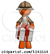 Orange Explorer Ranger Man Gifting Present With Large Bow Front View