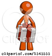 Orange Design Mascot Woman Gifting Present With Large Bow Front View