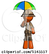 Orange Explorer Ranger Man Holding Umbrella Rainbow Colored
