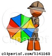 Orange Explorer Ranger Man Holding Rainbow Umbrella Out To Viewer