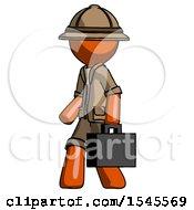 Orange Explorer Ranger Man Walking With Briefcase To The Left
