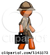 Orange Explorer Ranger Man Walking With Briefcase To The Right