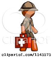 Orange Explorer Ranger Man Walking With Medical Aid Briefcase To Right