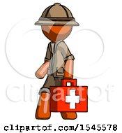 Orange Explorer Ranger Man Walking With Medical Aid Briefcase To Left