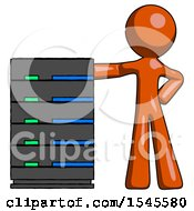 Orange Design Mascot Man With Server Rack Leaning Confidently Against It