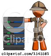 Orange Explorer Ranger Man With Server Rack Leaning Confidently Against It