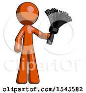 Orange Design Mascot Man Holding Feather Duster Facing Forward