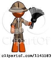 Orange Explorer Ranger Man Holding Feather Duster Facing Forward