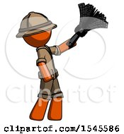 Orange Explorer Ranger Man Dusting With Feather Duster Upwards