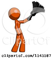 Orange Design Mascot Woman Dusting With Feather Duster Upwards