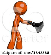 Orange Design Mascot Man Dusting With Feather Duster Downwards