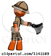 Orange Explorer Ranger Man Dusting With Feather Duster Downwards