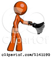 Orange Design Mascot Woman Dusting With Feather Duster Downwards