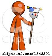 Orange Design Mascot Man Holding Jester Staff