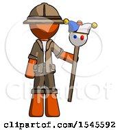 Orange Explorer Ranger Man Holding Jester Staff